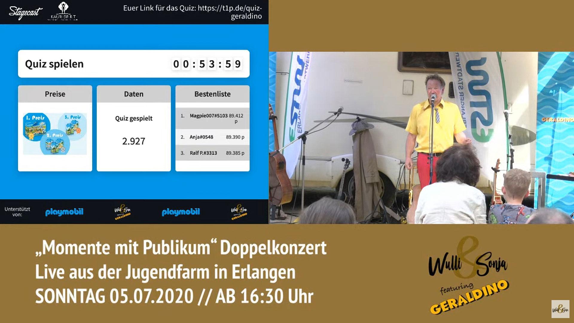 Wulli und Sonja Open-Air mit Playmobil Erlangen 05.07.2020