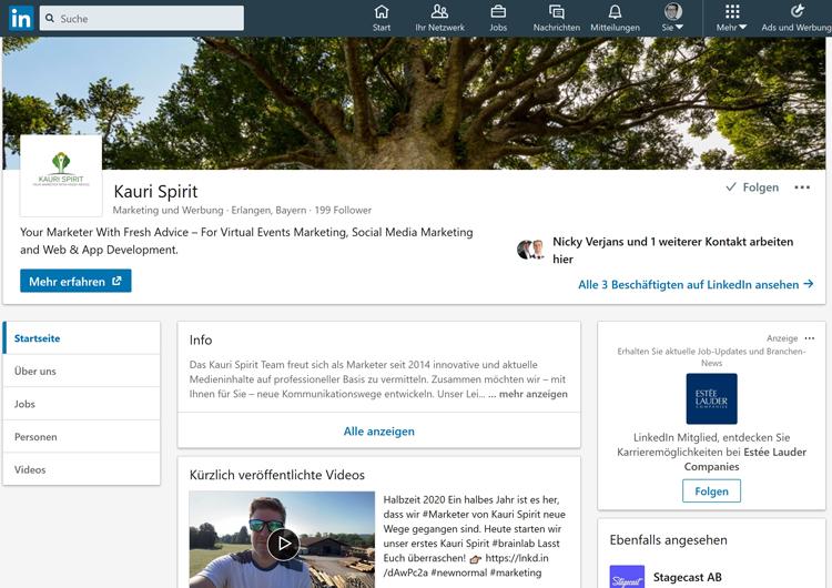 Kauri Spirit LinkedIn Unternehmensseite 2020