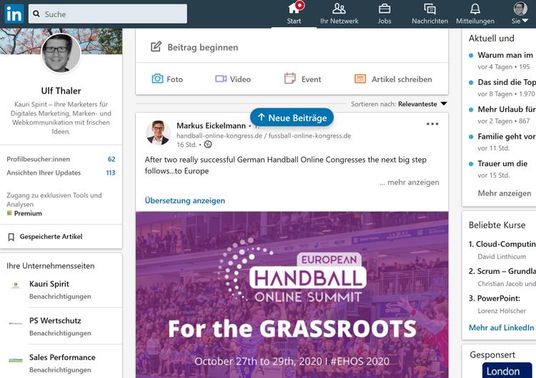 LinkedIn Member Profilseite 2020