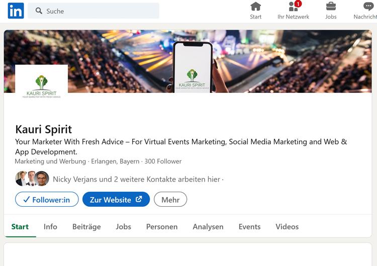LinkedIn Unternehmensseite Kauri Spirit 300 Follower